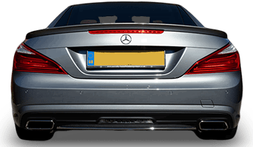 Photo of the rear of a Mercedes Sl with a custom exhaust